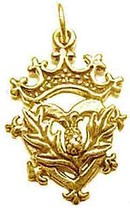 LOOK Celtic Scottish Thistle Charm gold vermeil silver Crown - $16.20