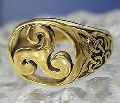 LOOK Celtic triskele Fylfot Wicca Ring 24kt Gold plated .925 - $46.92