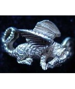 LOOK Celtic Sleeping Fire Dragon Ring Silver TAIL Jewelry - $21.91