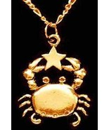 LOOK Cancer Pendant Charm Zodiac Star Gold plated real 925 - $22.40