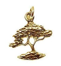 LOOK Bonsai Tree Gold plated charm Buddha honor prestige - $362,33 MXN