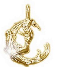 LOOK Celtic Moon Goddess Maiden Pendant Charm gold plated - $17.84