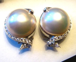 Vintage 14K White Gold Mabe Pearl and Diamond Earrings Clip On 2.2grams - €758,70 EUR