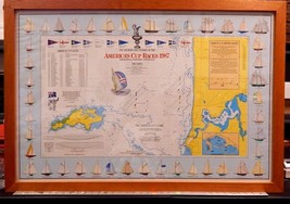 America's Cup Races 1987 Professionally Framed Poster of Location and Co... - $175.50