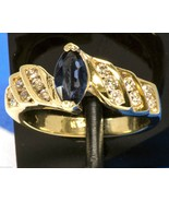 Vintage 14k Ring with Marquis Cut Sapphire and Accent Diamonds Small Tin... - $292.50