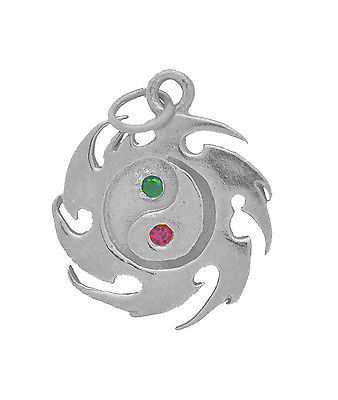 LOOK Chinese Ying Yin Yang charm Silver .925 EARTH Fire EMERALD Ruby Taijitu sym