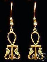 LOOK 0886 New Gold Plated Cobra Horus Earrings Egyptian ANKH - $566,16 MXN