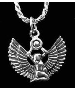 LOOK Egyptian Egypt Jewelry WINGED Goddess Queen ISIS Fine Sterling Silv... - $19.33