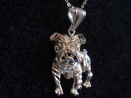 LOOK DETAILED BIG silver Pendant Charm Bulldog DOG Jewelry - $18.10