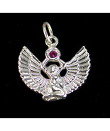 LOOK Egyptian Jewelry WINGED ISIS Ruby stone Sterling Silver .925 Charm ... - $27.31