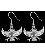LOOK Egyptian Egypt SCARAB BEETLE Earrings Silver Jewelry - $42.10