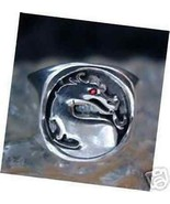 LOOK New Heavy Mortal Kombat Ruby Eye Ring Dragon Real Sterling silver 9... - $56.52