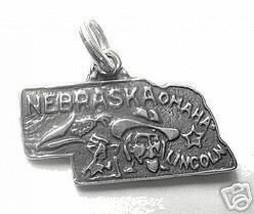 LOOK NEBRASKA OMAHA  State Map USA Sterling Silver Charm - $292,64 MXN