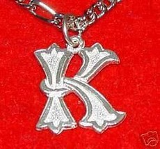 LOOK Letter K Sterling Silver Charm Initial Gothic Jewelry - $14.77