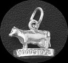 LOOK Woodstock Ontario Canada Cow Sterling silver 925 charm - $7.11
