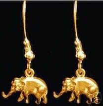 LOOK Sterling Silver ELEPHANT Earrings Gold Plated Jewelry - $706,06 MXN