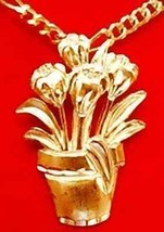 LOOK Gold Plated Garden Flower Pot Pendant Charm Jewelry - $14.26