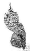 LOOK New Jersey Atlantic City State Map USA Silver Charm - $16.55