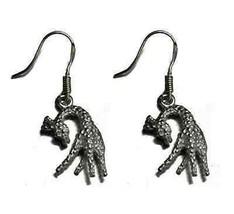 LOOK Giraffe Sterling Silver .925 Dangle charm Earrings Zoo - $20.93