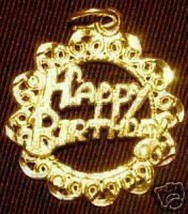 LOOK Gold Plated Happy Birthday Pendant Charm Jewelry - $13.36