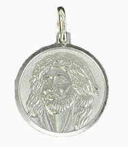 LOOK Lord Jesus Christ face crown of thorns Authentic Sterling Silver Ch... - $20.51