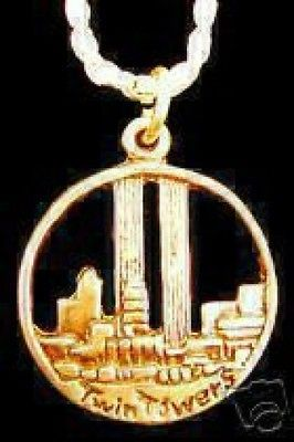 LOOK Gold Plated Twin Towers World Trade Center Charm Silver