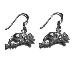 LOOK OPOSSUM possum sterling silver 3D solid earrings charm - $723,05 MXN