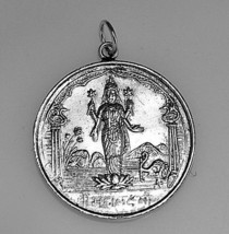LOOK New Hindu Vishnu OM Lotus Real Sterling Silver .925 Pendant Charm s... - $27.96