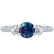 2.60 tcw Round cr Alexandrite & Diamond 3 Stone Ladies Lucida Ring .925 ... - £225.99 GBP