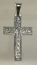 LOOK Jesus Christ Rose cross Genuine Sterling silver charm pendant Christian Jew - $17.97