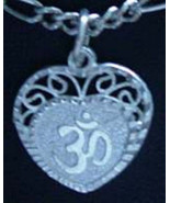 LOOK HEART Sterling Silver 925 Charm I LOVE Hindu OM Jewelry compassion ... - $19.34