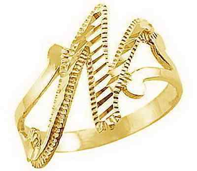 Primary image for LOOK Gold plated Sterling silver letter alphabet Initial Elegant Cute N ring jew