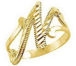 LOOK Gold plated Sterling silver letter alphabet Initial Elegant Cute N ring jew - $20.38