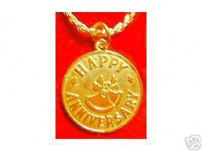 LOOK Happy ANNIVERSARY Pendant Charm Jewelry Gold Plated