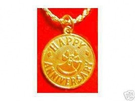 LOOK Happy ANNIVERSARY Pendant Charm Jewelry Gold Plated - $16.55