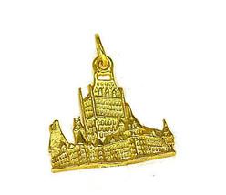 LOOK Gold plt Bran Dracula Castle charm Romania Transylvania - $25.81