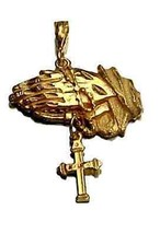 LOOK Jesus Praying Hand dangle movable cross Gold pltd charm - $35.04