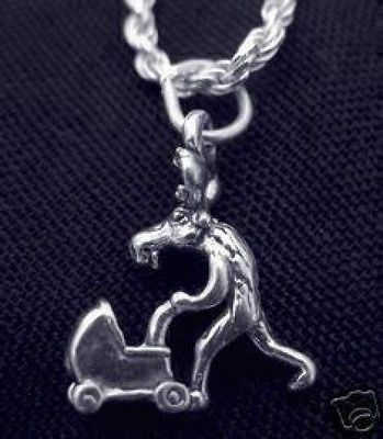 LOOK Parent Moose with baby stroller Pendant charm 3D Silver