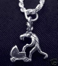 LOOK Parent Moose with baby stroller Pendant charm 3D Silver - $18.75