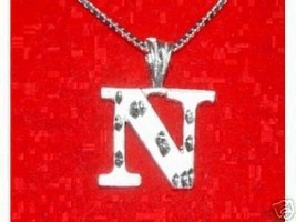 LOOK Silver Pendant Charm Initial Letter N Diamond Jewelry - $13.04