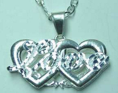 LOOK Sterling Silver Heart Love Pendant Charm Jewelry