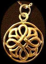 LOOK Gold plated Weave Wicca Pendant Celtic Charm Good Luck - $14.42
