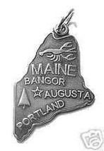 LOOK Maine Portland State Map USA Silver Charm Pendant - $12.42