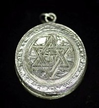 LOOK Silver Pill Box Jewish Star of David Chai charm pendant - $106.06