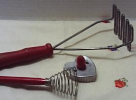 Vintage Red Wood Handled Kitchen Tools Utensils Potato Masher Cookie Cutter - $15.00