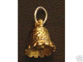 LOOK Gold pltd Wedding Christmas Bell Pendant Charm Jewelry - $13.58