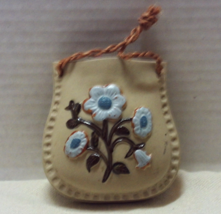 Vintage Red Clay Pottery Hanging Wall Pocket Vase // Blue Flowers Retro ... - $10.99