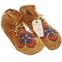 "Plains Indian 9"" Floral Beaded Brain Tanned Leather Moccasins Vintage 19... - $399.00"