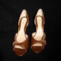 8 1/2 B Cole Haan Sparkly Brown Open Toed High Heel Shoes Pumps EUC Leather Sole - $19.28