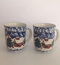 Two- 2- TIENSHAN FOLK CRAFT CABIN IN THE SNOW COFFEE MUGS - $9.49